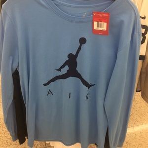 d2e9909578ed Jordan Shirts - Air Jordan Long Sleeve Black Blue White Gold Shirt